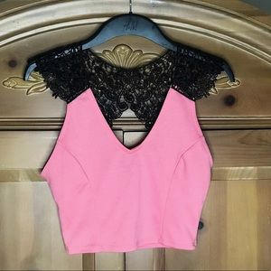 Charlotte Russe Pink/Black Lace Crop Top.